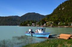 Caleta Tortel,在Aysen南部的Chile's海湾中间位于的一个微小的沿海小村庄 图库摄影