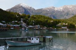 Caleta Tortel, a tiny coastal hamlet located in the midst of Aysen Southern Chile's fjords stock image