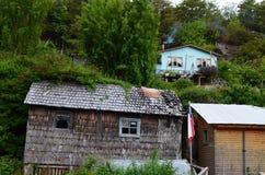 Caleta Tortel, un villaggio costiero minuscolo situato nel mezzo dei fiordi dei €™s di Aysen Southern Chileâ Fotografia Stock Libera da Diritti