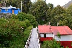 Caleta Tortel, un villaggio costiero minuscolo situato nel mezzo dei fiordi dei €™s di Aysen Southern Chileâ Fotografia Stock