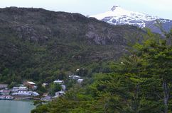Caleta Tortel, une hameau côtière minuscule située au beau milieu des fjords de €™s d'Aysen Southern Chileâ Photos stock