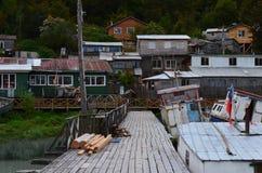 Caleta Tortel, une hameau côtière minuscule située au beau milieu des fjords de €™s d'Aysen Southern Chileâ Image stock