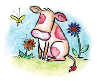 The Calf. A young calf in a meadow. Art marker on vellum royalty free illustration