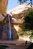 Calf Creek Falls Utah. On a hot day, this is the place to go. Nature will make it cool for you to take a dip or just relax on the beach royalty free stock image