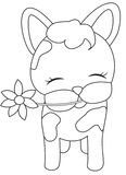Calf with a flower coloring page Stock Images