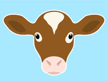 Calf head. Cute calf head on blue background vector illustration