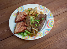 Calf liver and bacon Royalty Free Stock Photography
