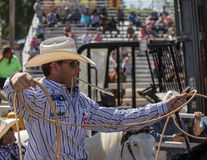 Calf Roping Cowboy. Red Bluff, California. April 25, 2015: A calf roping cowboy prepares his rope and gets ready to launch out of the gate at this rodeo in Stock Image