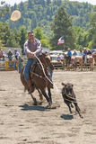 Calf Roping. Participant in the calf roping competition in the South County Rodeo June 12, 2010 in Mrytle Creek, OR Stock Image
