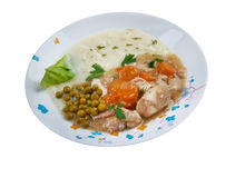 Calf's fricassee. Fricassee of Chicken with Vegetables Royalty Free Stock Photography