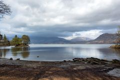 Calfclose Bay Derwent Water in the Lake District stock photography