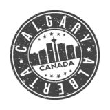 Calgary Alberta Canada America Round Button City Skyline Design Stamp Vector Travel Tourism. Skyline with emblematic Buildings and Monuments of this famous city vector illustration