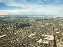 Calgary Alberta Canada Downtown Aerial View in Winter Stock Image