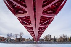 CALGARY, ALBERTA, CANADA - MARCH 19, 2013: The Peace Bridge over the frozen Bow River in downtown Calgary, Alberta stock image