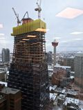 A new architectural landmark under construction in Calgary`s downtown core, royalty free stock photos