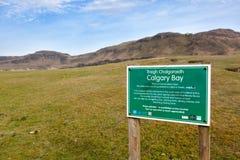 Calgary Bay signpost Royalty Free Stock Photos