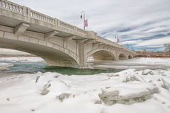 Calgary Bridge Across Icy Bow River Stock Image