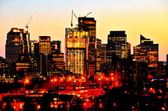 Calgary céntrica Alberta durante la construcción tomada Fotos de archivo libres de regalías