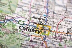 Calgary, Canadá no mapa Imagens de Stock
