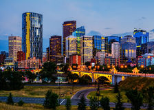 Calgary Canada. Buildings in Calgary Canada at night stock photography