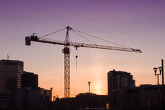 Calgary City Sunset. Construction sunset in the city of Calgary Stock Photo