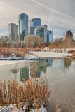 Calgary City in the Winter. A cityscape of Calgary, Alberta reflecting in the Prince's Island Park lagoon Royalty Free Stock Photography