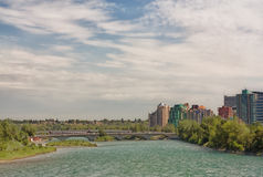 Calgary Cityscape. View of the Bow River, bridges and downtown Calgary Royalty Free Stock Photo