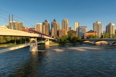 Downtown Calgary skyline on a summer sunset, Alberta, Canada. Stock Photography
