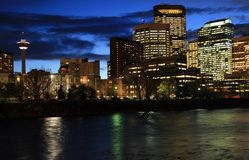 Calgary da baixa na noite Foto de Stock