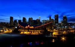 Calgary di notte Fotografia Stock