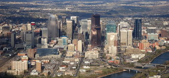 Calgary downtown. The downtown area of Calgary from the air, on a sunny afternoon Stock Photo