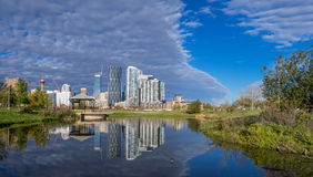 Calgary downtown as viewed from East Village Stock Photos