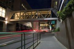 Calgary Downtown. Buildings and light streaks along 4 street sw, Calgary, Alberta Stock Images