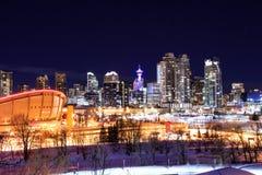 Calgary Downtown Night Royalty Free Stock Photography