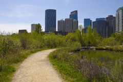 Calgary Downtown from Princess Island Stock Image
