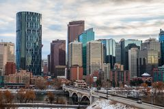 The Calgary downtown skyline in Alberta stock images