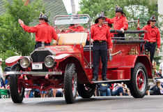 Calgary fire department. Float at annual Calgary Stampede parade (July 4, 2008 stock images