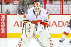 Calgary Flames goalie Reto Berra Royalty Free Stock Images