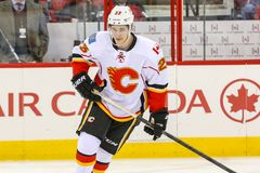 Calgary flammamitt Sean Monahan Arkivbild