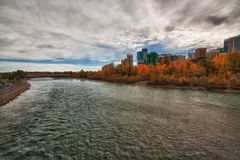 Calgary HDR Cityscape. Calgary city high definition range image with the Bow River and autumn colors Stock Photography