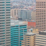 Calgary Highrises. View from a highrise window of many office buildings in Calgary, Alberta royalty free stock photos