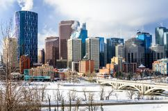 Calgary horisont på en vintermorgon Royaltyfri Fotografi