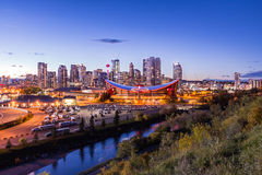 Calgary i stadens centrum solnedgång Royaltyfri Bild