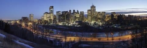 Calgary la nuit Photographie stock