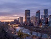 Calgary linia horyzontu przy wschodem słońca Obrazy Royalty Free