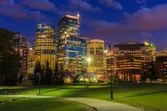 Calgary at night Royalty Free Stock Image