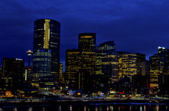 Calgary skyline by night Royalty Free Stock Photography