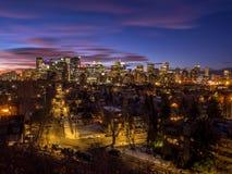 Calgary ` s linia horyzontu przy wschodem słońca Obraz Royalty Free