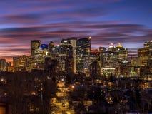 Calgary ` s linia horyzontu przy wschodem słońca Zdjęcia Stock