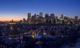 Calgary ` s linia horyzontu przy wschodem słońca Zdjęcia Royalty Free